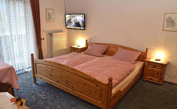 Wohn-/Schlafraum mit Kleiderschrank, Tisch und TV - Gästezimmer 5, Gästehaus Ehmer an der Weinstraßenmitte, Weindorf Diedesfeld, Neustadt an der Weinstraße (Pfalz)
