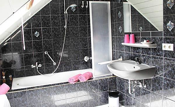 Badezimmer mit Badewanne / Duschwand, WC, Ferienwohnung Feigenblatt - Urlaubsdomizil Haardter Sonne, Neustadt / Weinstr. (Pfalz)