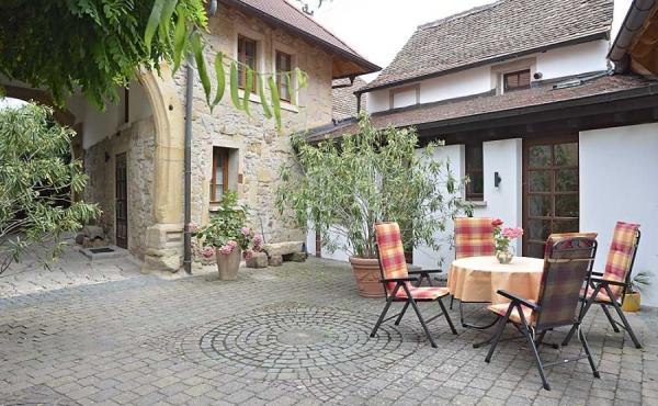 Die Sitzplätze auf der Terrasse gehören zur Ferienwohnung Meerspinne - Ferienwohnung Meerspinne, Weingut Thomas Steigelmann, Gimmeldingen (Pfalz), Neustadt / Weinstr.